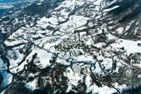 Veduta aerea della fraz. Gabione nel comune di Romagnese
