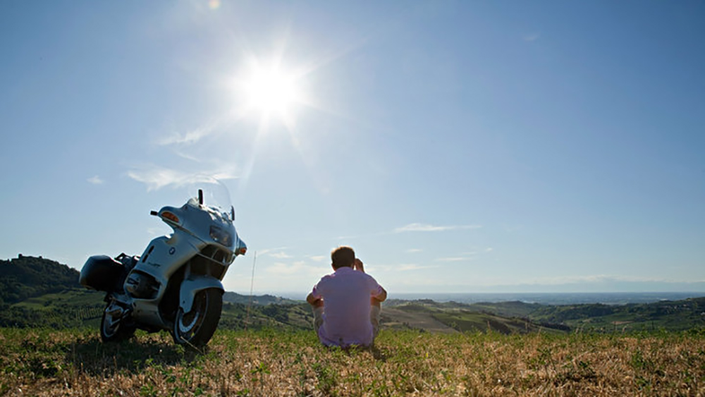 Flavio Chiesa con la sua moto