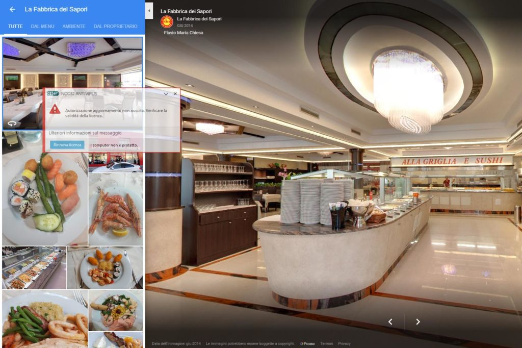Fotografo certificato Google tour virtuale ristorante
