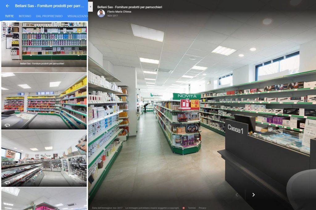 Fotografo certificato Google tour virtuale negozio per parrucchieri Bellani